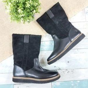 Clarks Black Glick Elmfield Leather Boots Size 7